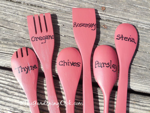 DIY Wooden Spoon Herb Plant Markers