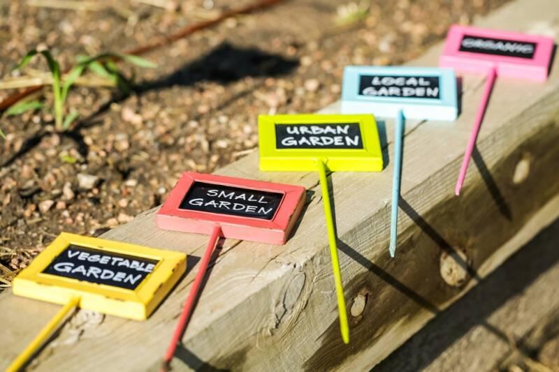 weatherproof plant markers in the garden