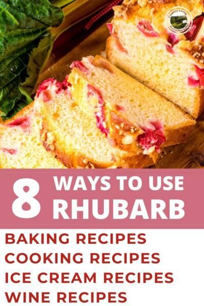 Rhubarb loaf on a cutting board