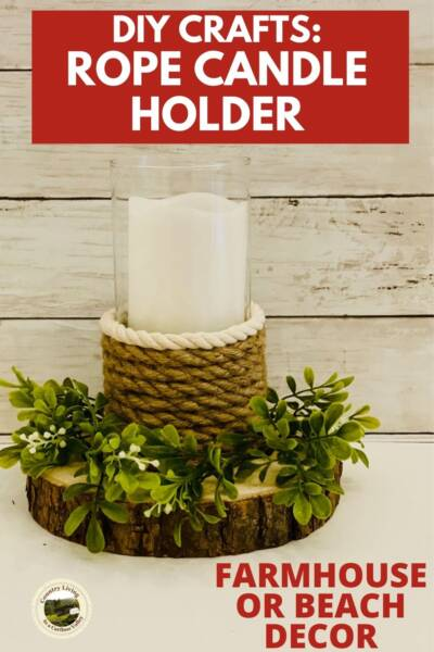 Roped Candle Holder on a wood slab