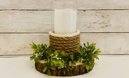 Rope Candle Holder on Wood