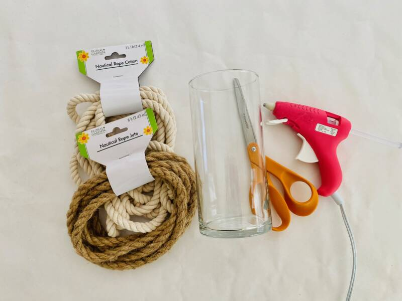 Supplies to make roped candle holder