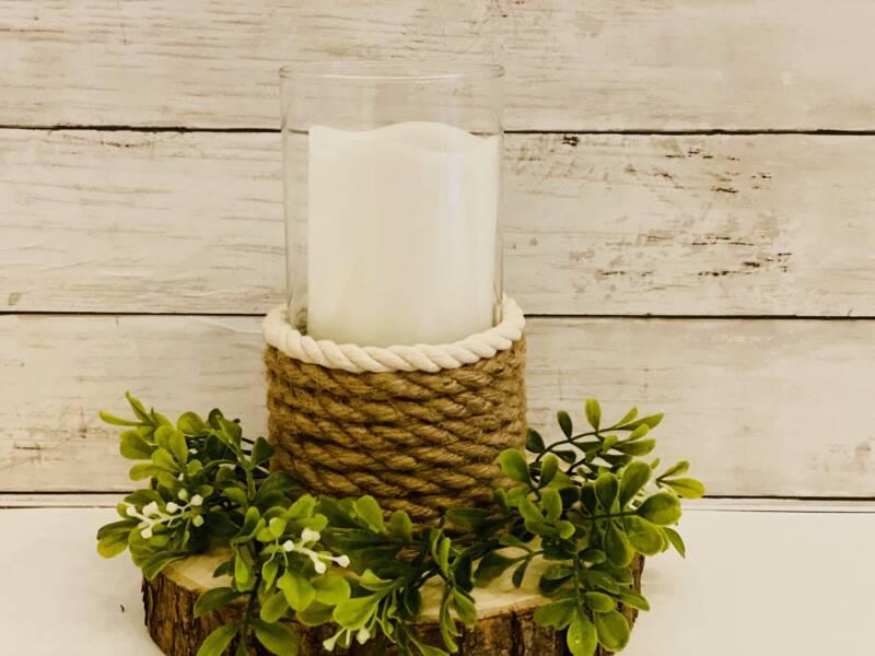 Farmhouse candle holder on a table