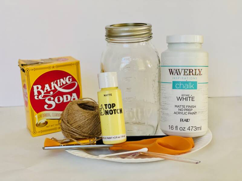 Supplies needed to make this Daisy Painted Mason Jar craft