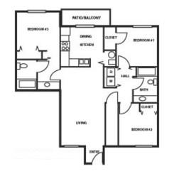 1137ft² 3 Bedroom, 2 Bathroom Floorplan