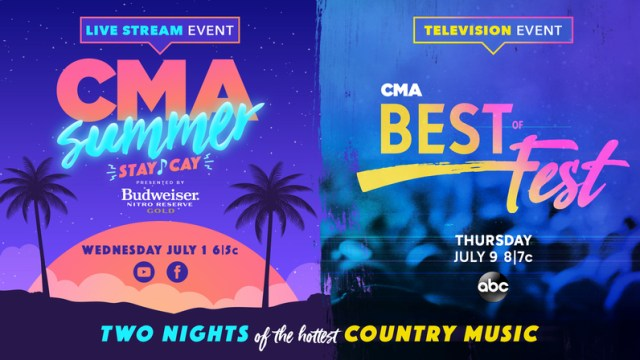 """The COUNTRY MUSIC ASSOCIATION (CMA) will bring fans two nights of Country music's best this Summer with two concert events, """"CMA Best of Fest"""" and """"CMA Summer Stay-Cay."""" Both shows will honor the legacy of CMA FEST, which was postponed this year due to safety concerns amidst the COVID-19 pandemic."""