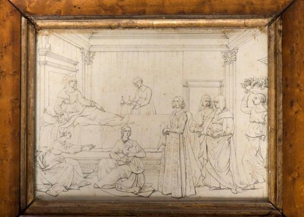 Pencil drawings from wall paintings Italy, c. 1800 with Frame