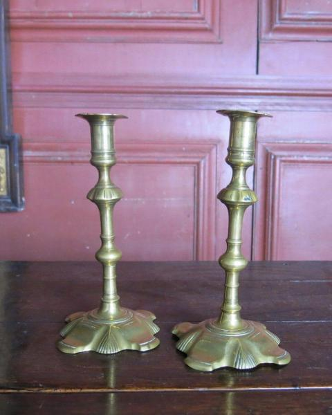 Pair of tall candlesticks 18th century Front