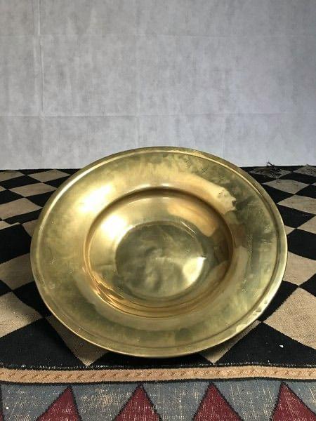 Large 18th Century brass domestic dish Back