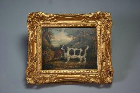 Oil painting of a spaniel, 18th century With Frame