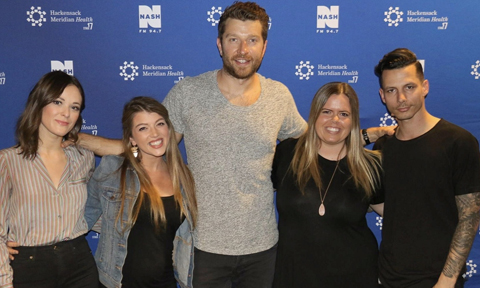Jillian Jacqueline, Brett Eledredge and Devin Dawson with NYCountry Swag's Christina Bosch and Stephanie Wagner