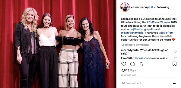 Cassadee Pope Took to Instagram to Announce Headlining Role on the 2019 CMT Next Women of Country Tour