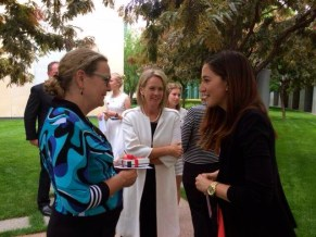 Minister Nash chatting with fellow Senator Jan McLucas and Country to Canberra, Hannah Wandel.