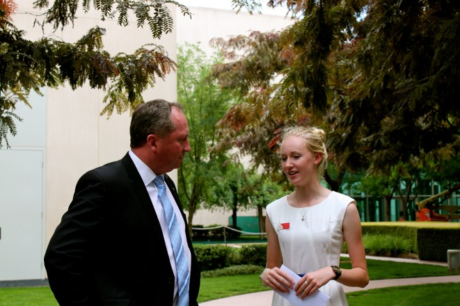2014 Country to Canberra essay competition winner Hannah Worsley was delighted to discuss rural education and gender equality with Barnaby Joyce Member for New England.