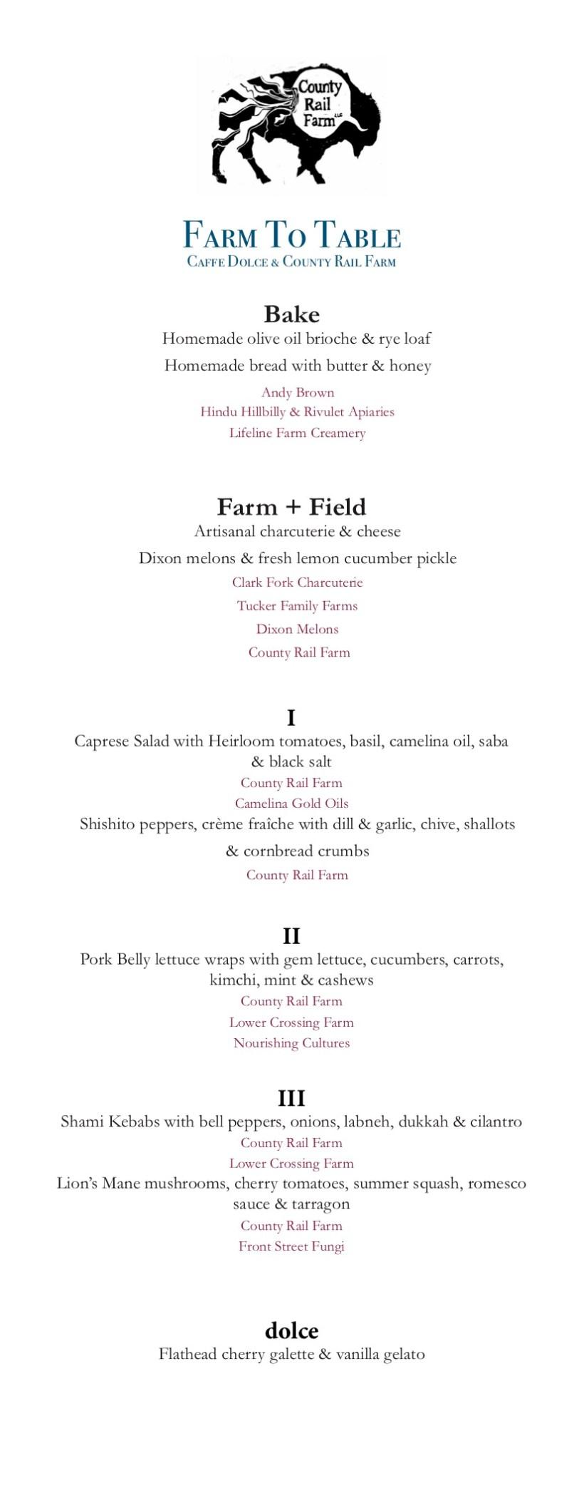 Farm dinner Menu Finalized