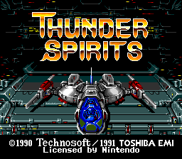 The title screen for Thunder Spirits for the SNES