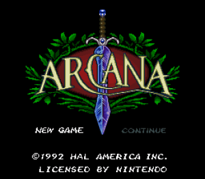 The Title Screen for Arcana on the SNES