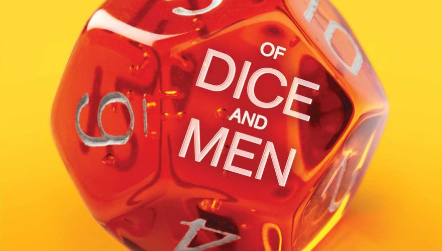 "Cropped portion of the book cover of ""Of Dice and Men"""