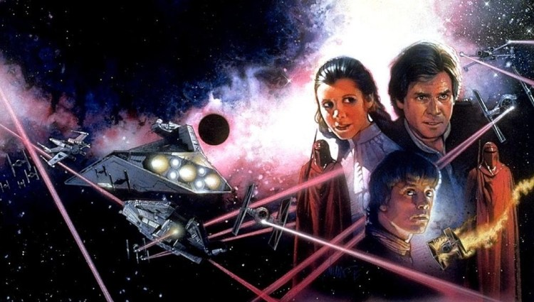 Excerpt of the cover art of Darksaber showing Han, Luke, Leia and two Imperial Guards
