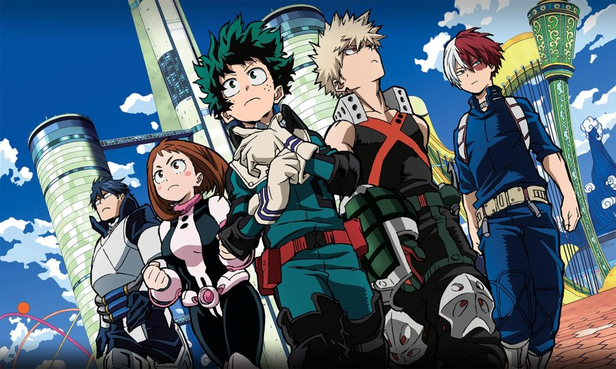 From Left, Iida, Ochako, Midorya, Bakugo, Todoroki - in their hero outfits on I-Island.