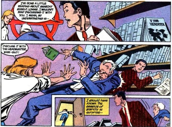 Anarky shoves the headmaster into Tim Drake.
