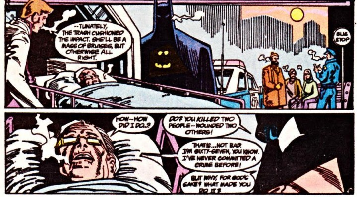 Batman questions the woman about the killing.