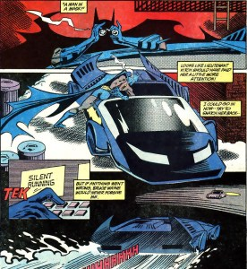 Batman leaps into the Batmobile in pursuit.