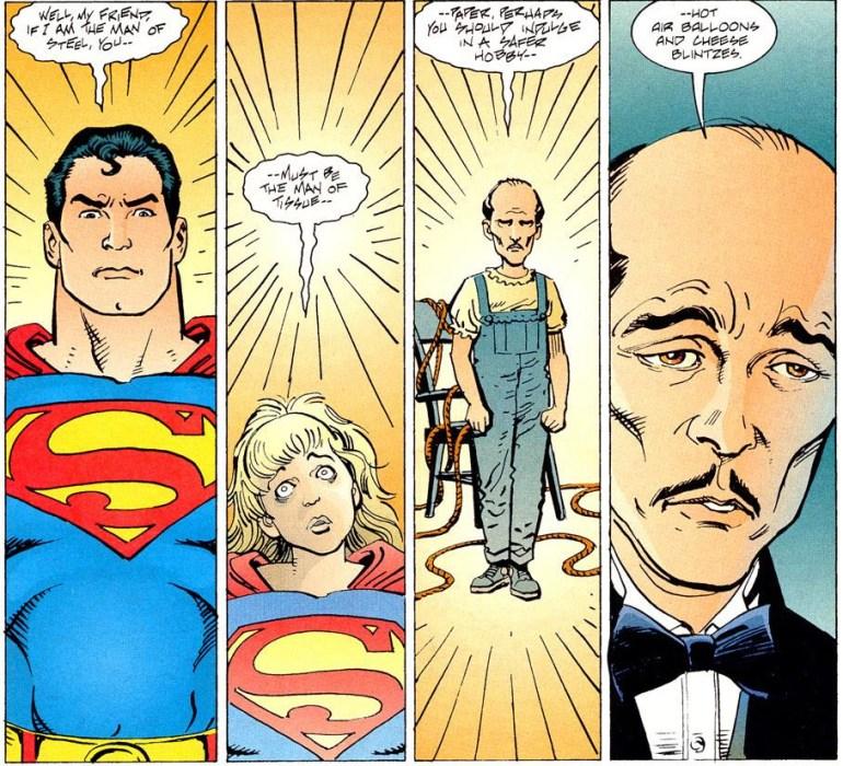 Bruce Wayne hallucinates Batman, than Sissy, then Alfred.