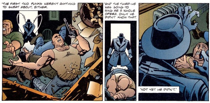 Bruce in a Trench Coat beats the crap out a bunch of people.