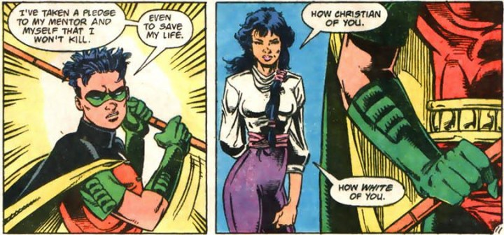 """Robin says he refuses to kill - Lady Shiva responds by saying """"How White of You""""."""