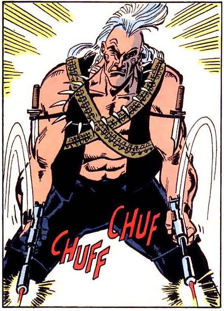 Headhunter's character design, with a white mohawk, skull facial tatoos under his eyes, a vest with no shirt, a bunch of animal teeth on a necklace, and two crossed bandoliers.