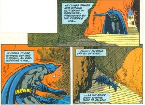 Batman collapses on the stairs.