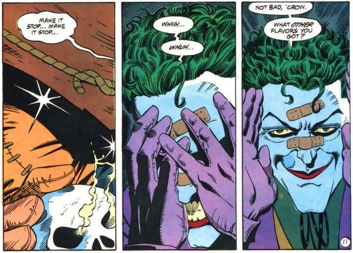 Joker no-sells Scarecrow's fear gas.
