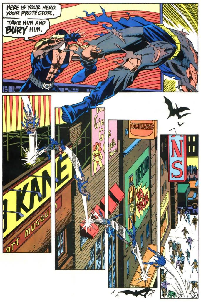 Bane throws Batman off the roof, with him hitting several awnings on the way down.