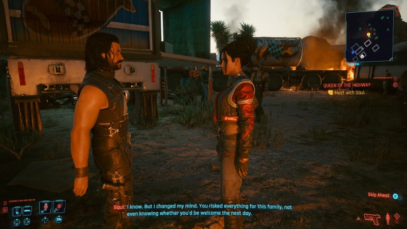 Panam and Saul talking in Cyberpunk 2077