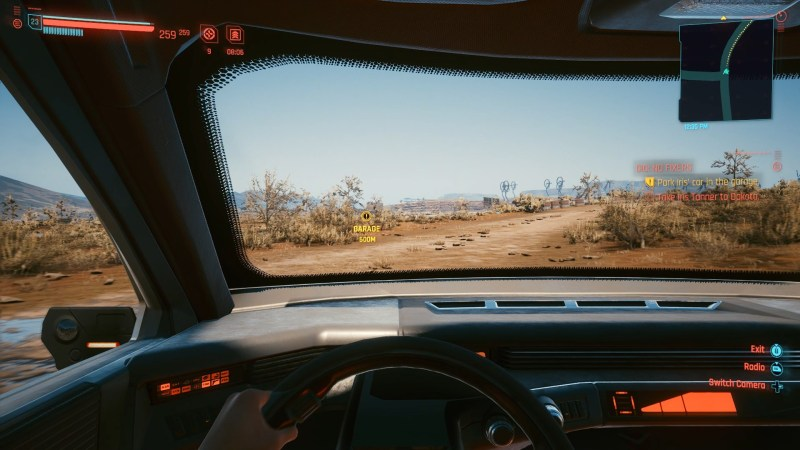 Example of driving in the first person in Cyberpunk 2077