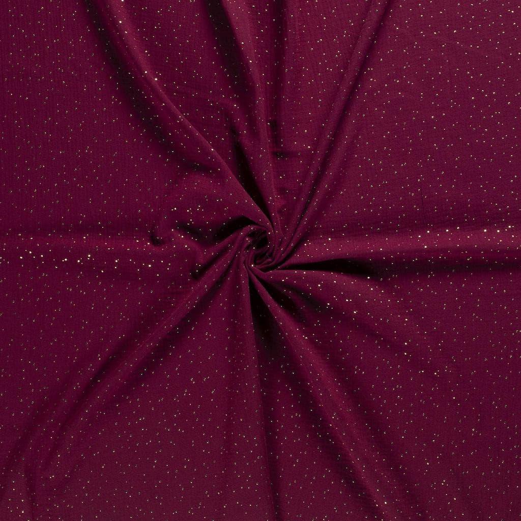 selection coup de coudre tissu double gaze de coton a pois dores sur le fond rouge bordeaux