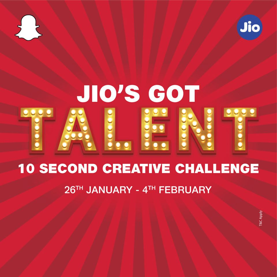 Jio SnapChat Offer: Jio Got Talent 26th January to 4th February 2020