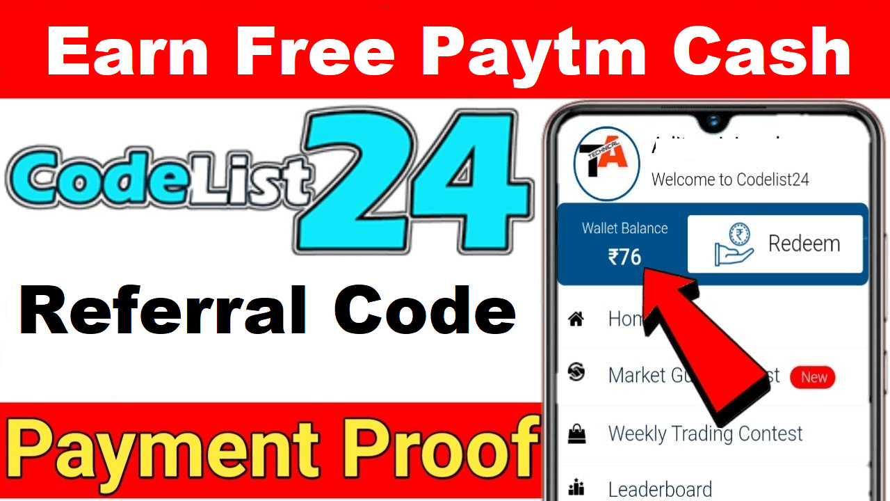 Download APK CodeList24 Referral Code Earn Free Paytm Cash ₹20