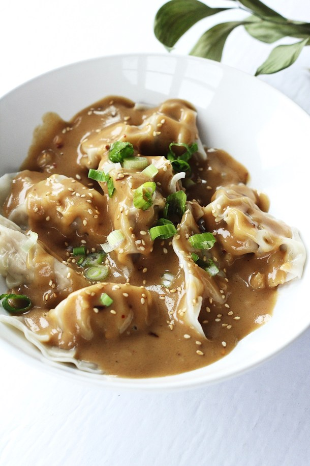 Pork Dumplings with Spicy Peanut Sauce 3