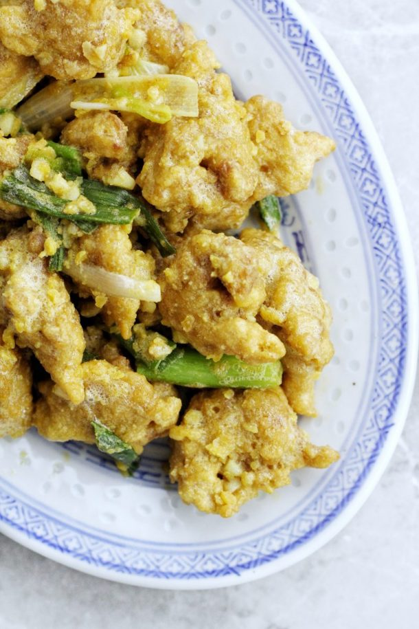 Crispy Chicken with Salted Egg Yolk Sauce Recipe