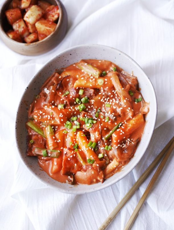Spicy Creamy Thick Glass Noodles & Rice Cakes
