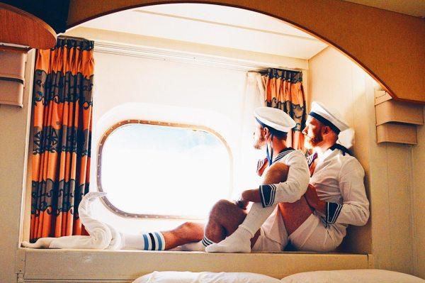 Gay Couple Travel Blogger Karl & Daan Enjoying The Cruise view | Gay Men Tips La Demence The Cruise © CoupleofMen.com