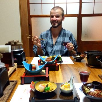 Karl having dinner at Minshuku Tsugizakura in Chikatsuyu © CoupleofMen.com