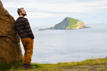 After reaching the mountain top by car: gazing the view | Gay Couple Road Trip East Iceland © Coupleofmen.com