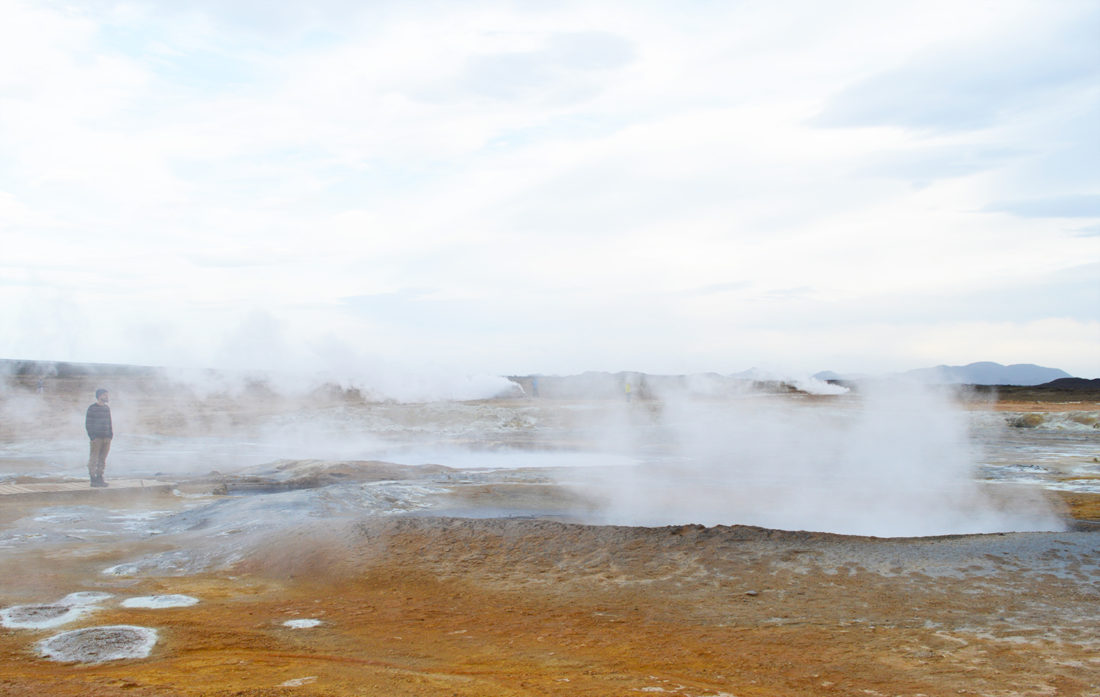 Karl in Sulferic steam | Gay Couple Road Trip East Iceland © Coupleofmen.com