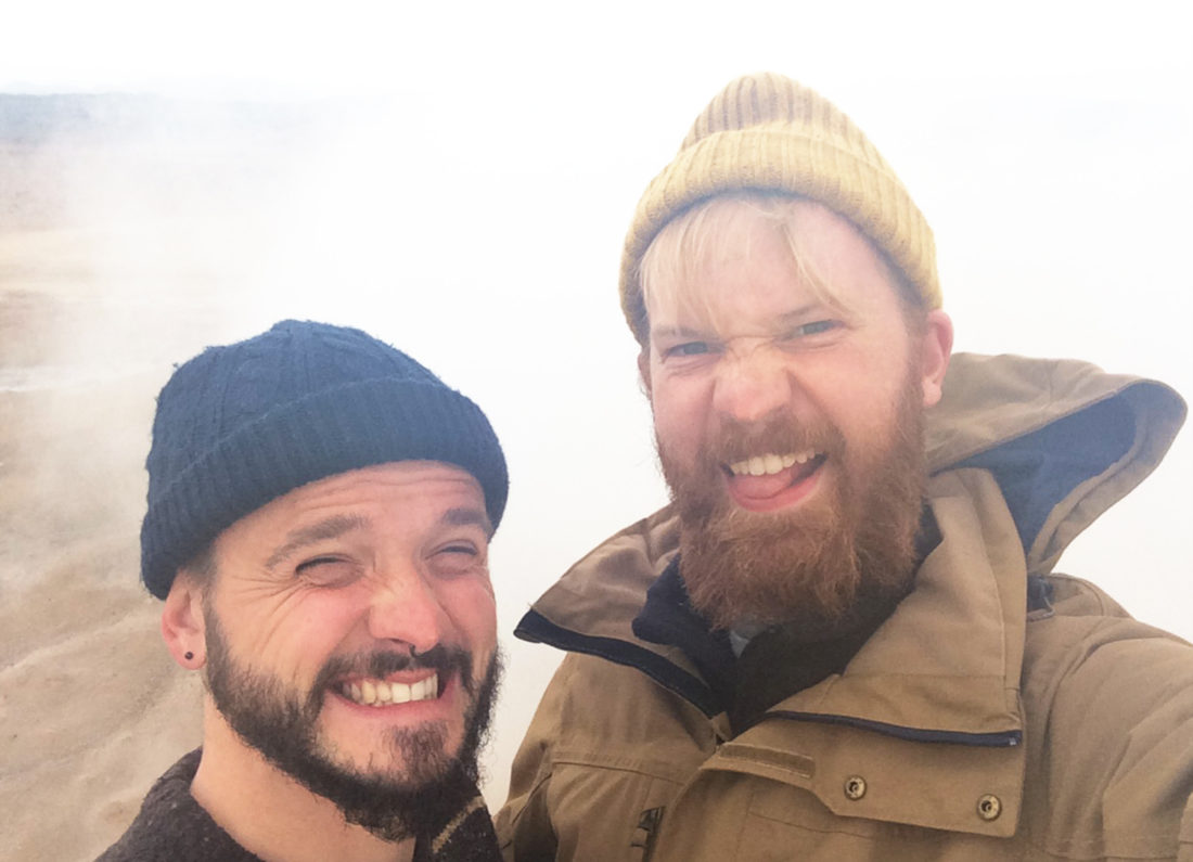 Sulferic smell and our faces | Gay Couple Road Trip East Iceland © Coupleofmen.com