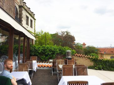 Gay Travel Prague Lunch Terrace of the Restaurant Valoria | Gay Couple City Weekend Prague © CoupleofMen.com