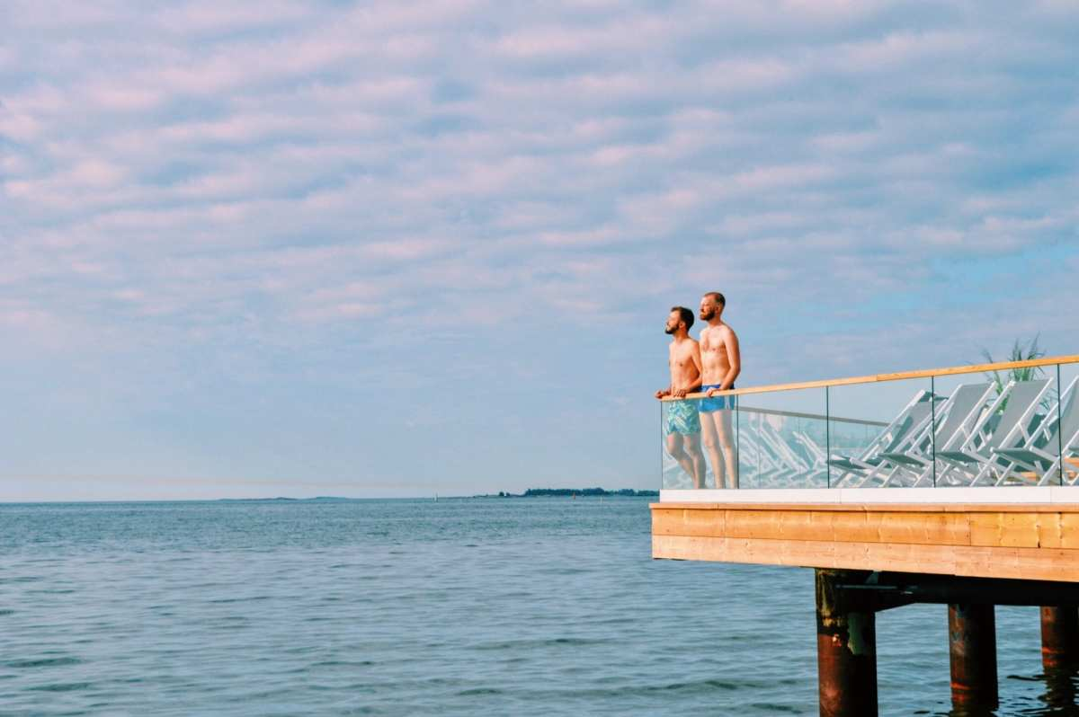 A Gay Couple relaxing at the Finnish Design Sauna LÖYLY in Helsinki | Finland