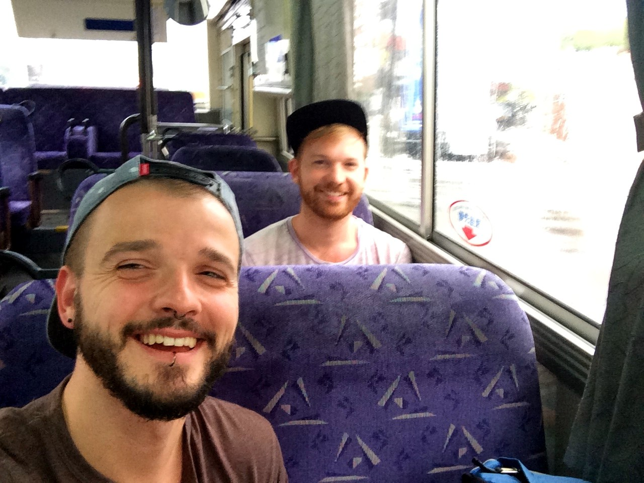 Selfie in the Bus to Takijiri-Oji to start our pilgrimage © CoupleofMen.com